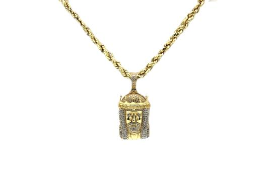 Other (2166) 14K Yellow Gold CZ Jesus Pendant With Hollow Rope Chain Image 1