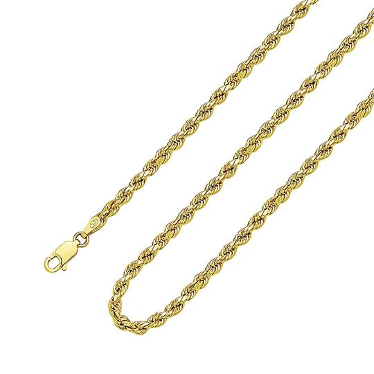 Other (2166) 14K Yellow Gold CZ Jesus Pendant With Hollow Rope Chain Image 4