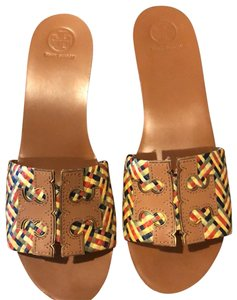 Tory Burch yellow, blue, red and green Wedges