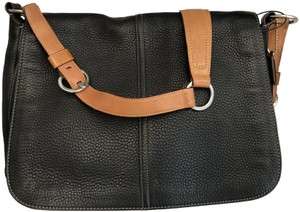Coach Leather Contrast Textured Black Messenger Bag