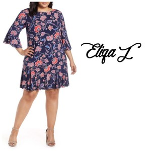 Eliza J Sheath Navy Floral 3/4 Sleeve Lined Dress