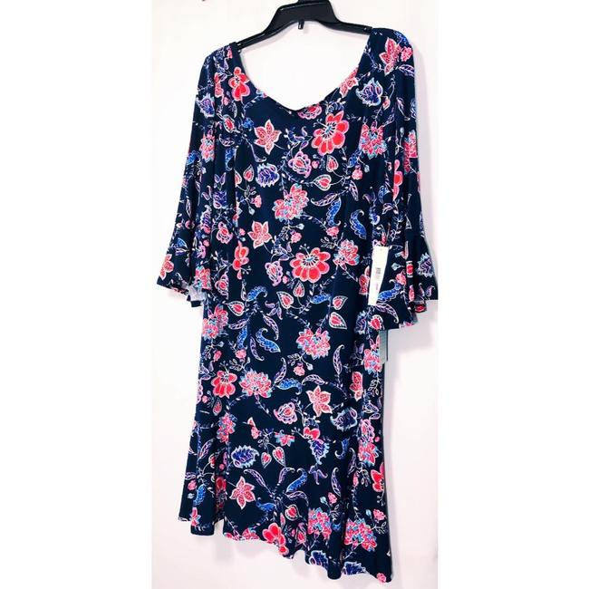 Eliza J Sheath Navy Floral 3/4 Sleeve Lined Dress Image 3