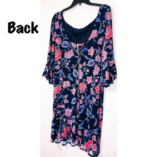 Eliza J Sheath Navy Floral 3/4 Sleeve Lined Dress Image 5