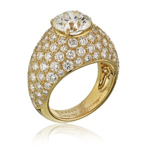 Cartier Yellow Gold 3.01ct Round Cut E-vs1 Gia Diamond Engagement Ring