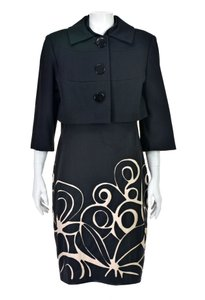 Kay Unger Black Ponte Knit Suit with Cropped Jacket and Sheath Dress
