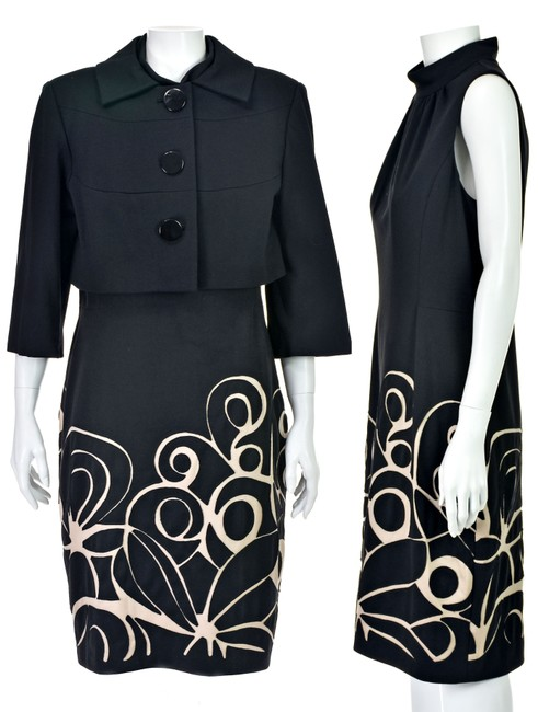 Kay Unger Black Ponte Knit Suit with Cropped Jacket and Sheath Dress Image 1