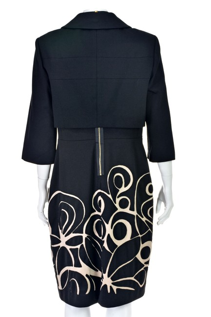 Kay Unger Black Ponte Knit Suit with Cropped Jacket and Sheath Dress Image 2