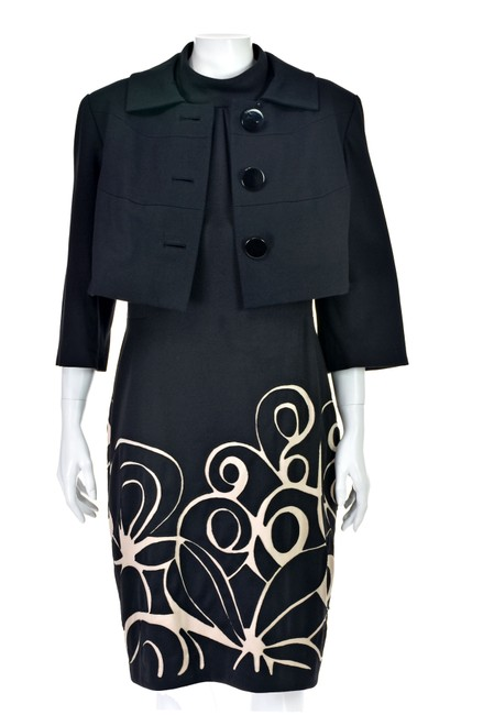 Kay Unger Black Ponte Knit Suit with Cropped Jacket and Sheath Dress Image 6