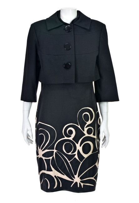 Kay Unger Black Ponte Knit Suit with Cropped Jacket and Sheath Dress Image 8