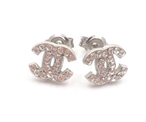 Chanel Chanel Classic Silver CC Crystal Mini Piercing Earrings