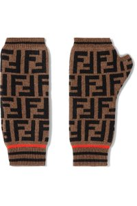 Fendi Intarsia cashmere and wool-blend fingerless gloves