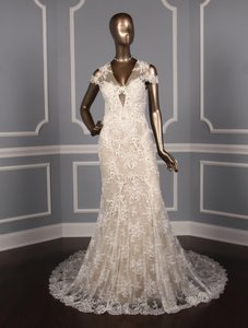 Monique Lhuillier Silk White/Nude Embroidered Tulle/Lace Geneva Modern Wedding Dress Size 10 (M)