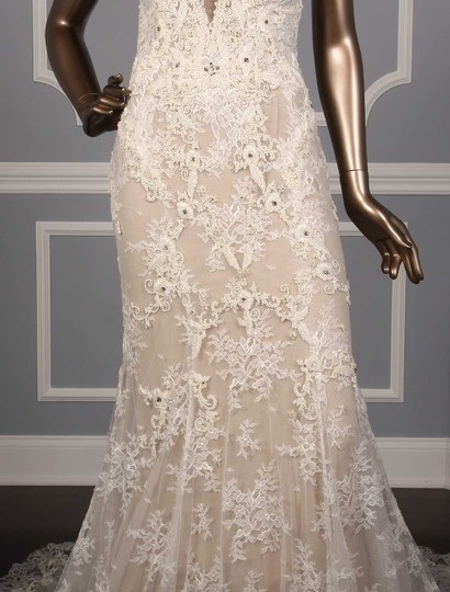 Monique Lhuillier Silk White/Nude Embroidered Tulle/Lace Geneva Modern Wedding Dress Size 10 (M) Image 1