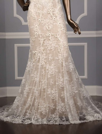 Monique Lhuillier Silk White/Nude Embroidered Tulle/Lace Geneva Modern Wedding Dress Size 10 (M) Image 2