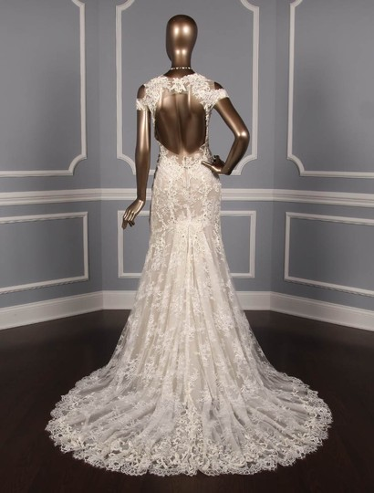 Monique Lhuillier Silk White/Nude Embroidered Tulle/Lace Geneva Modern Wedding Dress Size 10 (M) Image 5