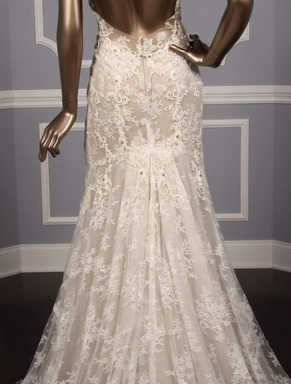 Monique Lhuillier Silk White/Nude Embroidered Tulle/Lace Geneva Modern Wedding Dress Size 10 (M) Image 7