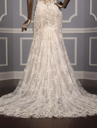 Monique Lhuillier Silk White/Nude Embroidered Tulle/Lace Geneva Modern Wedding Dress Size 10 (M) Image 8