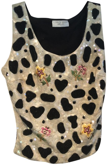 Item - Elaborate Sequin Front Pull Over Event Stretch S Black White Top