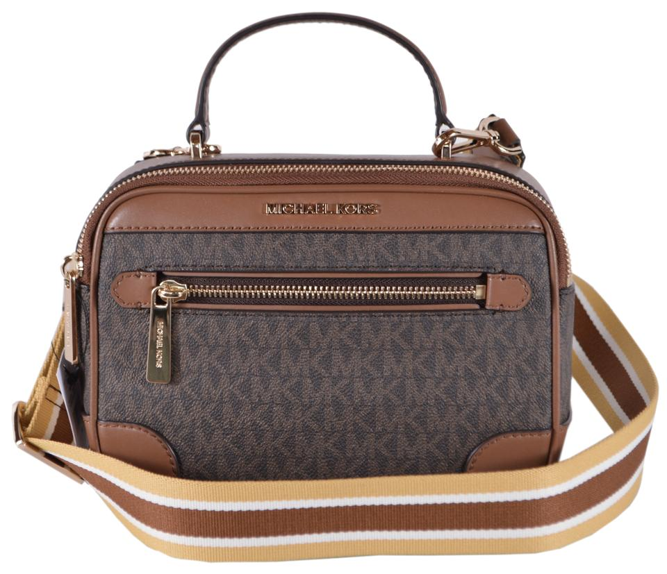 Michael Kors Camera New Signature Web Brown Coated Canvas And Leather Cross Body Bag 51 Off Retail