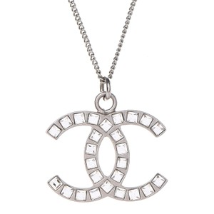 Chanel CHANEL Baguette Crystal CC Necklace Silver