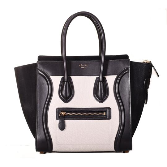 Preload https://img-static.tradesy.com/item/25860346/celine-tote-bag-luggage-drummed-micro-shopper-purse-black-and-white-leather-suede-satchel-0-0-540-540.jpg