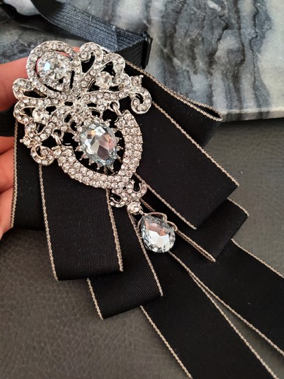 Black New England Style Royalty Evening Crystal Tie/Bowtie Image 2