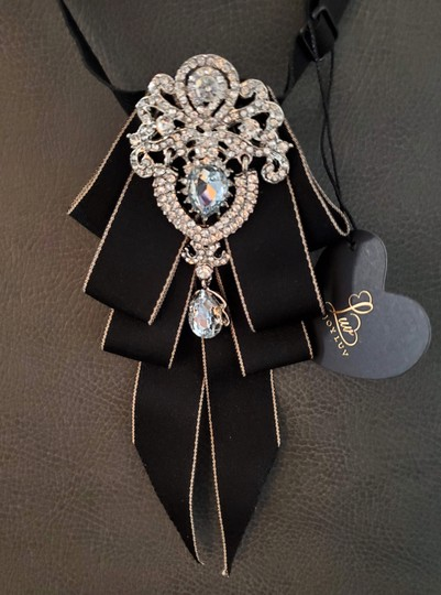 Black New England Style Royalty Evening Crystal Tie/Bowtie Image 3