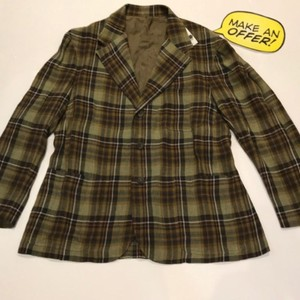Brown Green Mariano Rubinacci Bold Plaid Linen Sport Coat 40 R