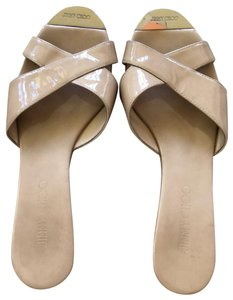 Jimmy Choo Cream Patent Leather Wedges