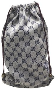 Gucci Gucci gray/blue GG print drawstring bag VINTAGE
