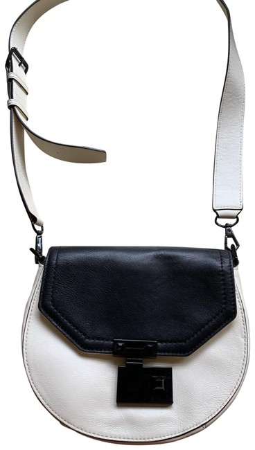 Item - Black and White Leather Cross Body Bag
