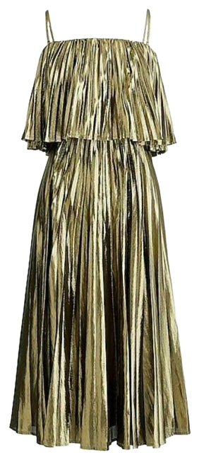 Item - Gold New Collection Pleated Midi Can Fit Mid-length Cocktail Dress Size 8 (M)