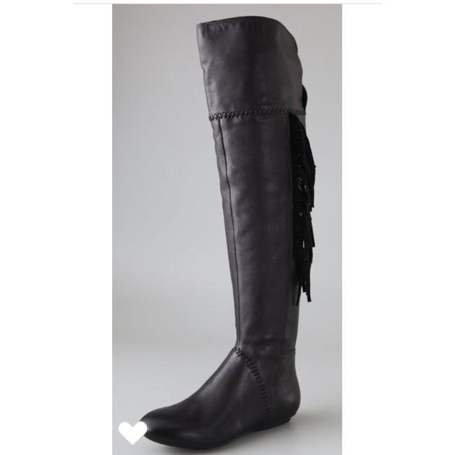 House of Harlow 1960 Black Leather Tessa Over The Knee Fringe Boots/Booties Size US 7 Regular (M, B) House of Harlow 1960 Black Leather Tessa Over The Knee Fringe Boots/Booties Size US 7 Regular (M, B) Image 1