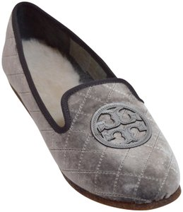 Tory Burch Billy New Quilted Grey Pewter Flats