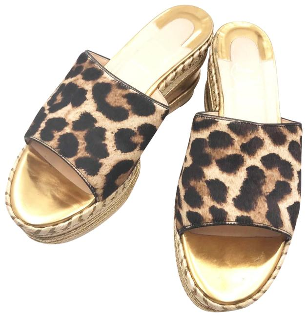 Item - Brown Gold Red Leopard Print Leather Espadrilles Wedge Mules/Slides Size EU 38 (Approx. US 8) Regular (M, B)