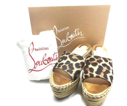 Christian Louboutin brown, gold, red Mules Image 1