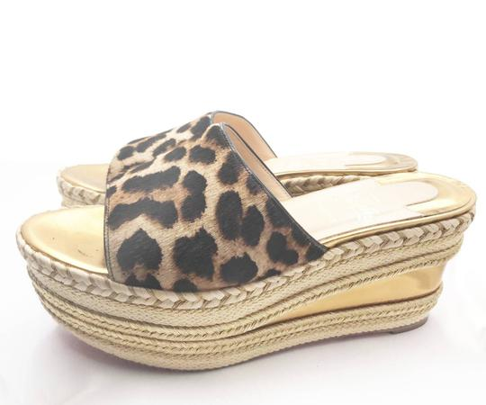 Christian Louboutin brown, gold, red Mules Image 2