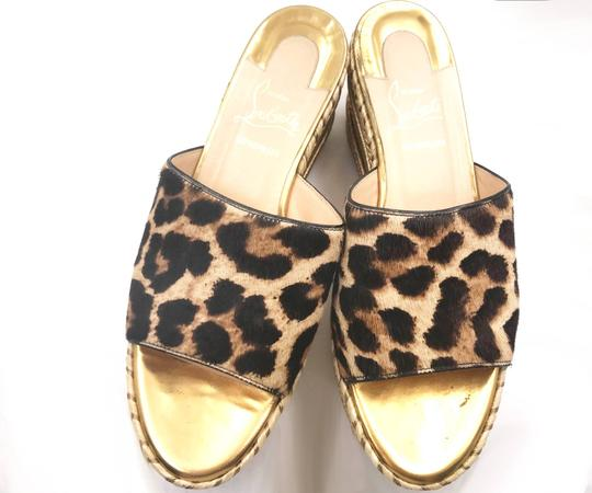 Christian Louboutin brown, gold, red Mules Image 3