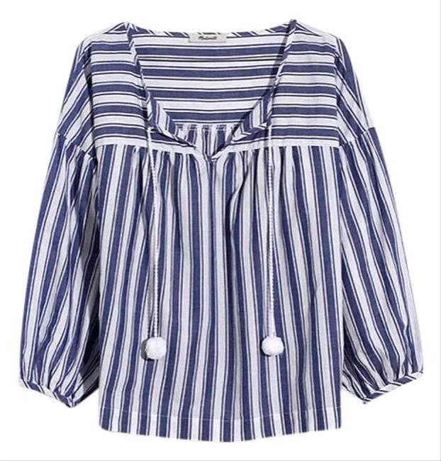 Preload https://img-static.tradesy.com/item/25861546/madewell-blue-and-white-peasant-in-shea-stripe-with-pom-pom-blouse-size-8-m-0-1-650-650.jpg