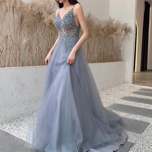 Blue Gown with Slit Formal Wedding Dress Size 6 (S)