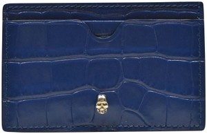 Alexander McQueen 3d SKULL crocodile embossed Leather Card Case