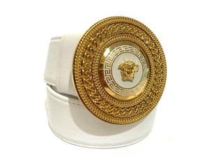 Versace New Versace Belt White Leather with Gold Medusa Buckle Size 85