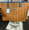 MCM Leather Logo Summer Pink Tote in cognac blue Image 4