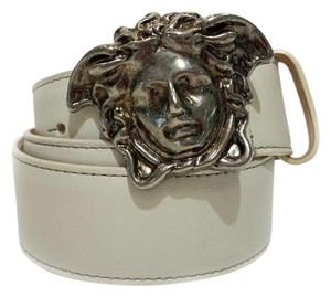 Versace New Versace Belt White Leather With Silver Medusa Buckle