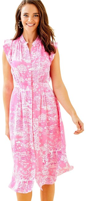 Item - Pink Palm Beach Silk Mid-length Night Out Dress Size 4 (S)