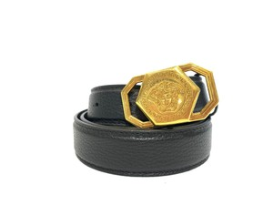 Versace New Versace Belt Black Leather With Gold Medusa Buckle