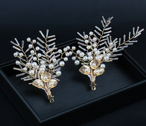 Gold 2pcs Set Bride Flower Leaf Pearl Flower Girl Hair Accessory