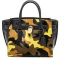 Michael Kors Leather Gold Haircalf Satchel in Camouflage Acid Yellow Black Image 0