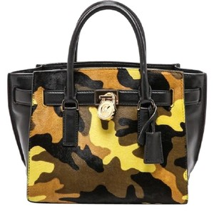 Michael Kors Leather Gold Haircalf Satchel in Camouflage Acid Yellow Black