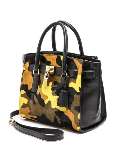 Michael Kors Leather Gold Haircalf Satchel in Camouflage Acid Yellow Black Image 1